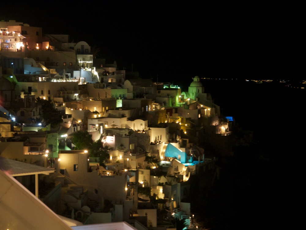 Santorini is beautiful with the lights of the night.