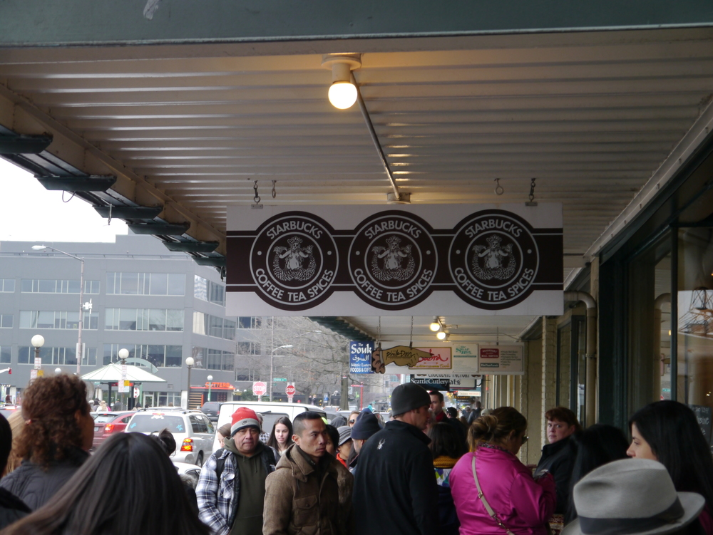 The first Starbucks. Almost always a line out the door.