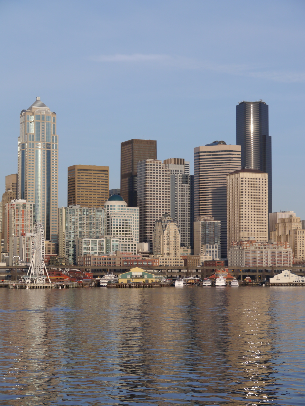 Seattle doesn't have a very tall skyline, but it is pretty.
