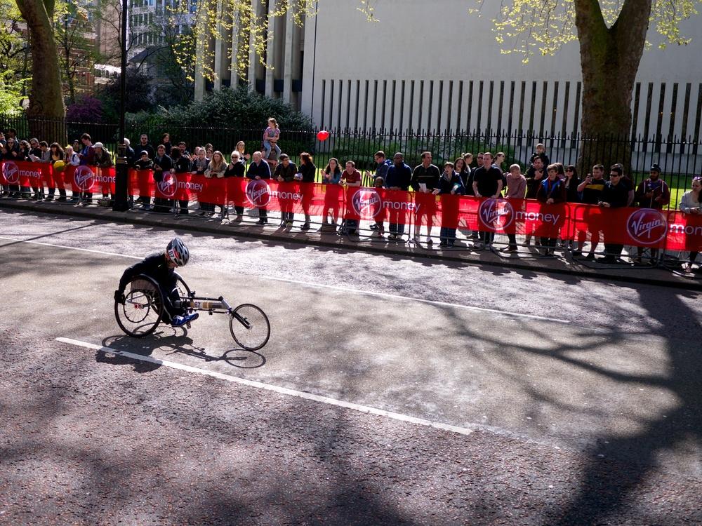 Dave Cook participating in the wheelchair marathon.