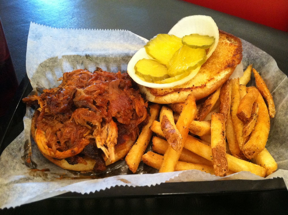 Barbecue sandwich with fries