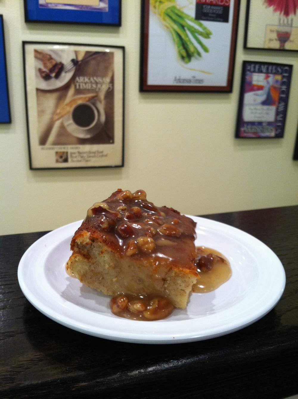 Mama's bread pudding with praline sauce