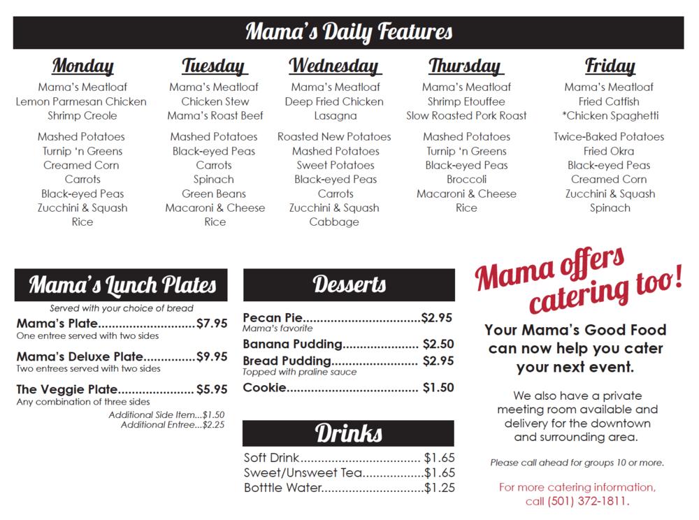 Your Mama's Good Food menu