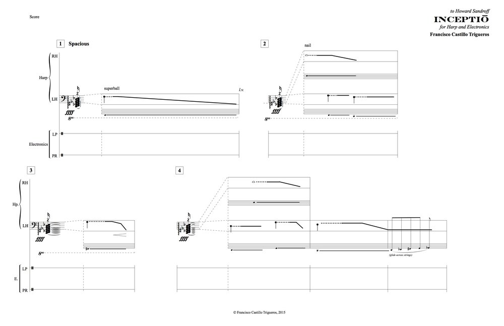 Opening page of inceptio for harp and electronics
