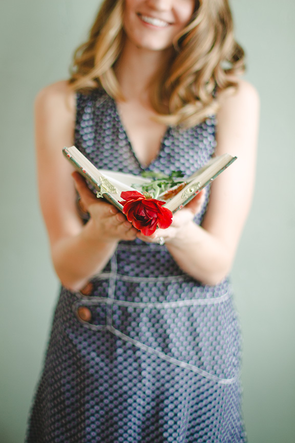 Happy Valentine's Day! xoxo Enjoy this lovely photo from our recent styled shoot.  **flower from 3 Leaf Floral Design, model Natalie Clayton wearing a Soil Goods dress, keepsake book made by Lindsay Hoef Green**