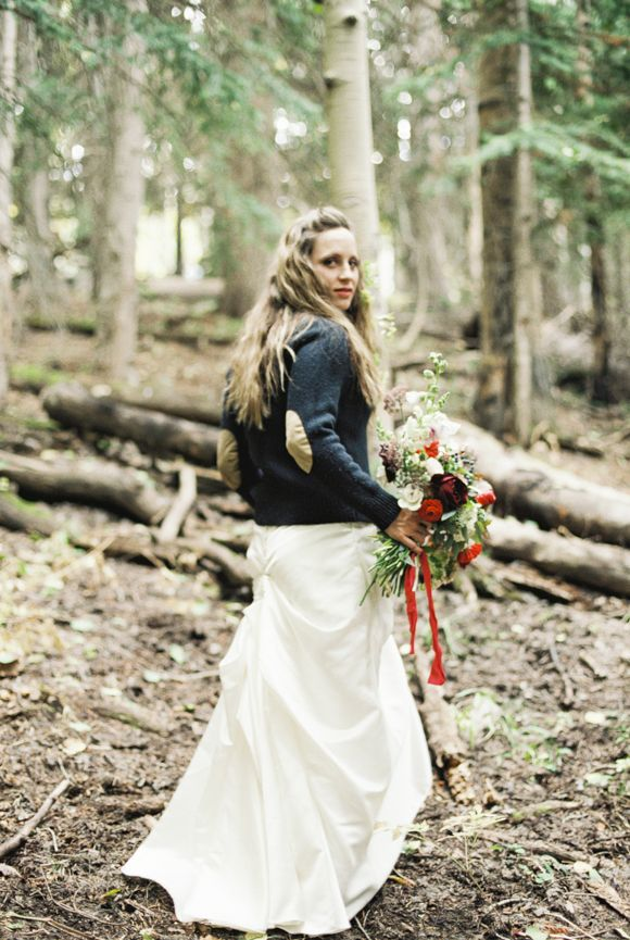 K Robinson Photography - This look I styled with a thrifted sweater for a fallColorado wedding inspiration shoot. Bouquet by3 Leaf Floral DesignRibbon Silk and Willow