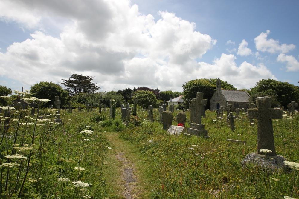 overgrown churchyard