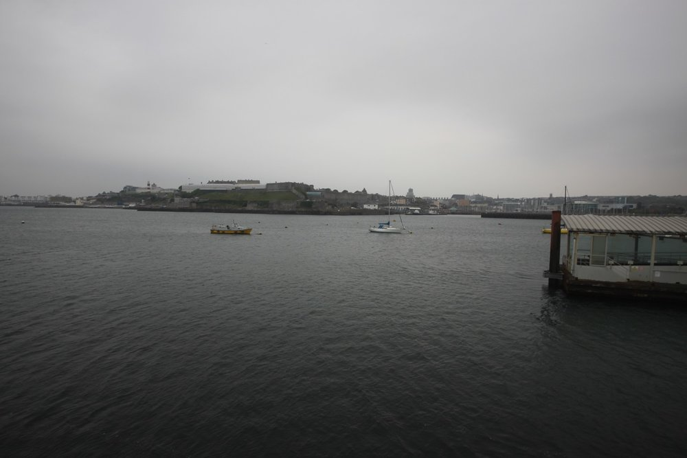 a murky view over to plymouth