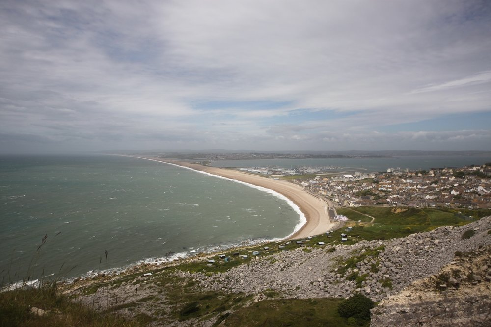 overlooking chesil beach