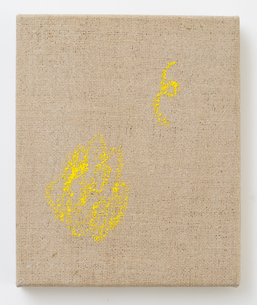 Eleanor Louise Butt, 'Tawarri', oil-­stick on jute, 2017, 28 x 23cm.