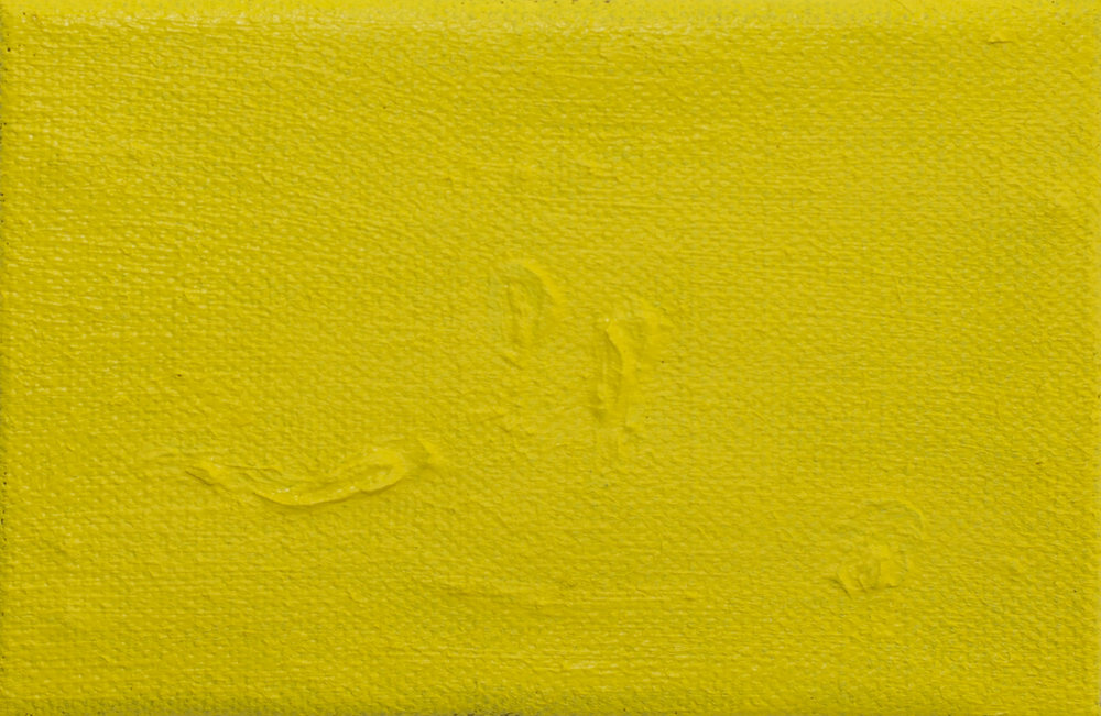 Yellow mnemonic, oil on linen,  10x15cm.