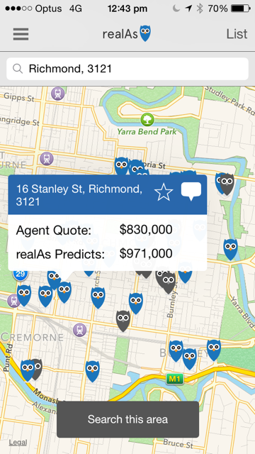 RealAs app: the app in motion here, showing a search in Richmond. It has collated active and past results and can present them in a list or map form, for browsing through and seeing what the difference in quotes and actual realistic values.