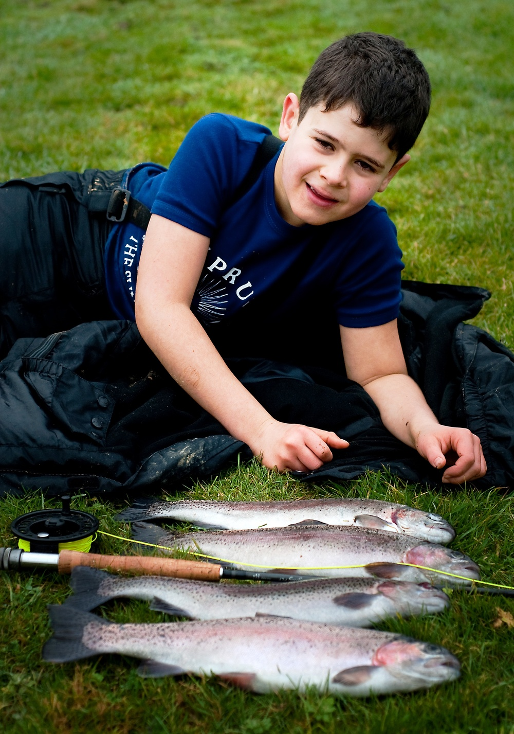 Elliot Pryor, junior novice, with his first 4 trout ever