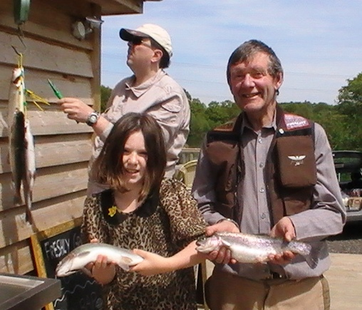 Peter Winder and his niece enjoy a successful day's fishing at Brick Farm