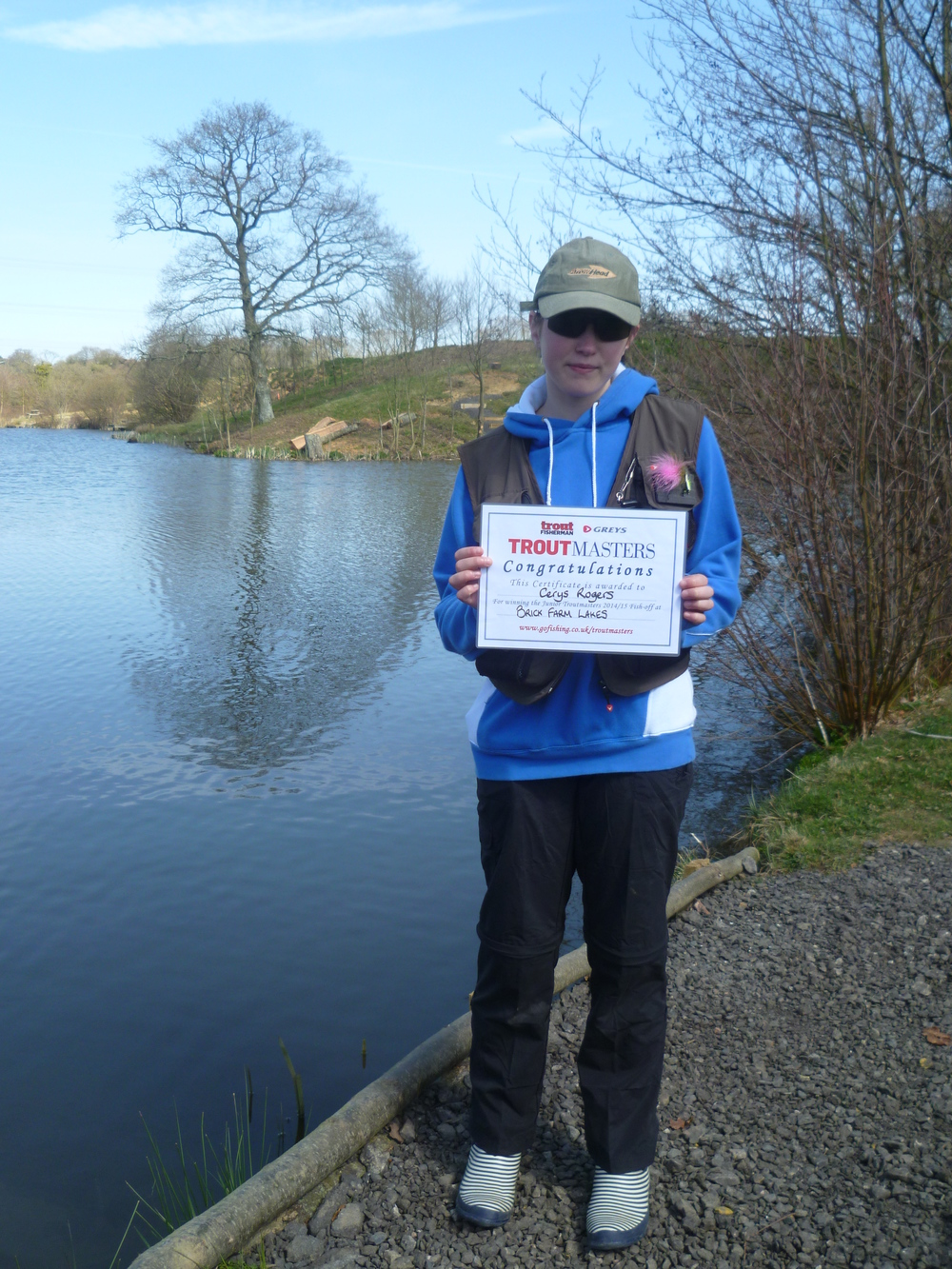 Cerys Rogers with her Troutmasters Junior Winner Certificate 12.4.15.JPG