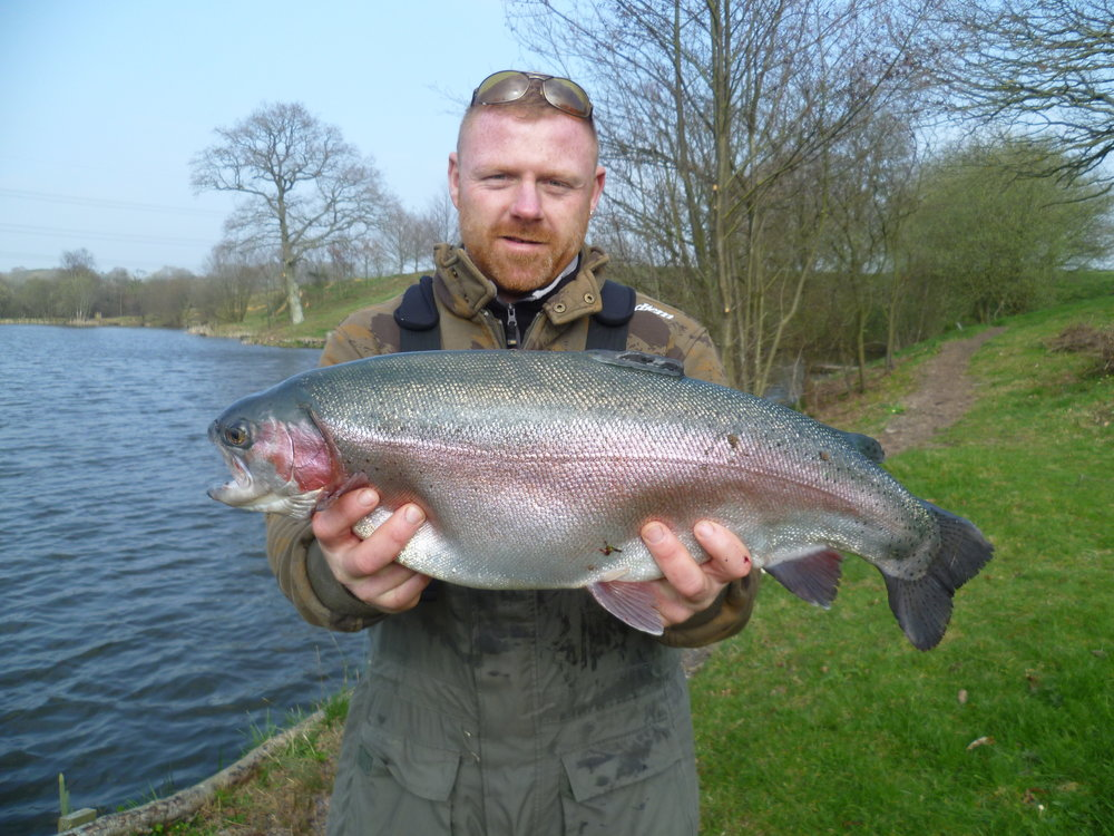 Matt Gentry with 9lb 14oz Rainbow from Well Lake caught on very windy day 24 March 2017 - congratulations!!