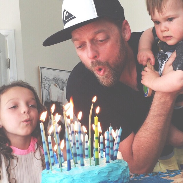 Jonny Mac turns 40 = party all day long. 40 candles on the cake made by your girls = needing everyone's help to blow them out. Happy bday @jonnymacintosh!
