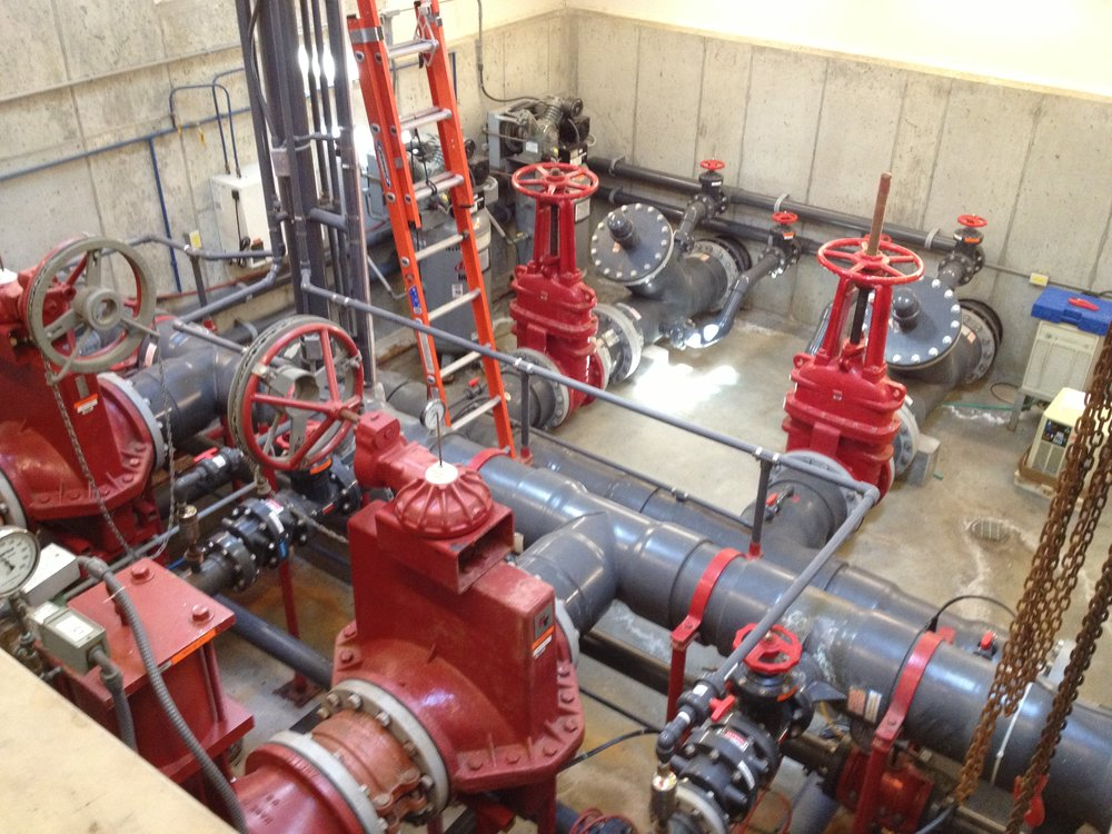 INSIDE THE PUMPHOUSE: Twin 16 inch intake lines feed three 50hp pumps that supply water at 2000 gallons per minute!
