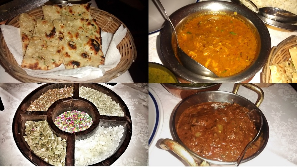 "in senso orario dalla prima immagine a sinistra: garlic naan, chicken madras, lamb vindaloo, ""digestivi"" indiani"