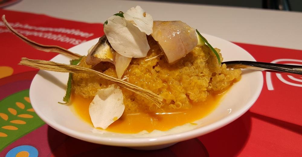 Herring marinated in leche de tigre and wild garlic on quinoa
