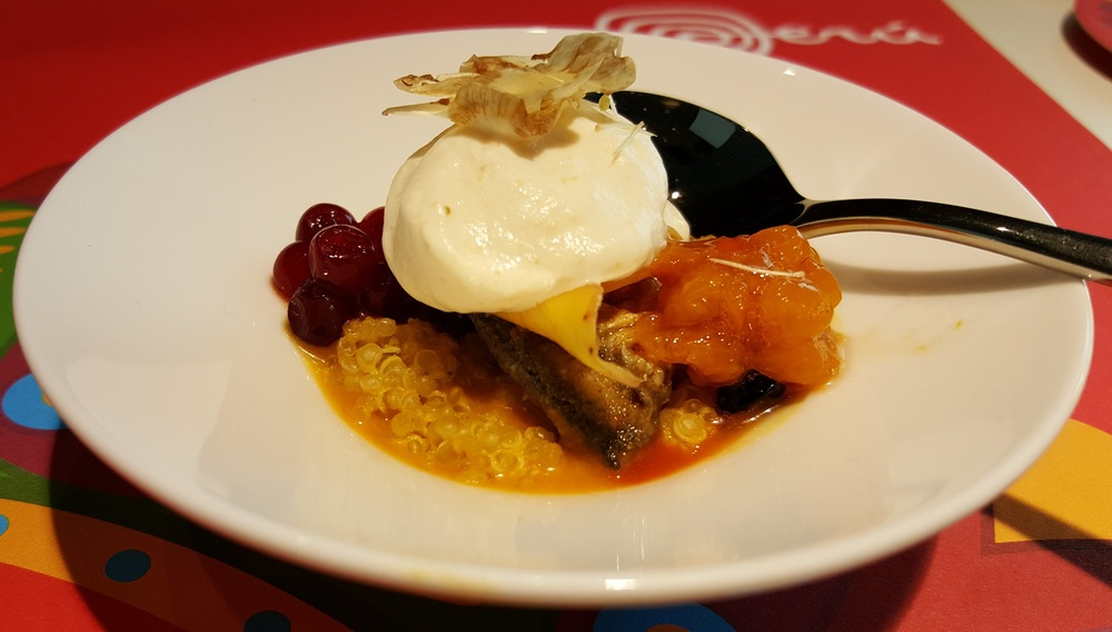 Fried herring with emulsion of dill and horseradish, berries, peperoncino, and a cream of artichoke with liquoriceon quinoa