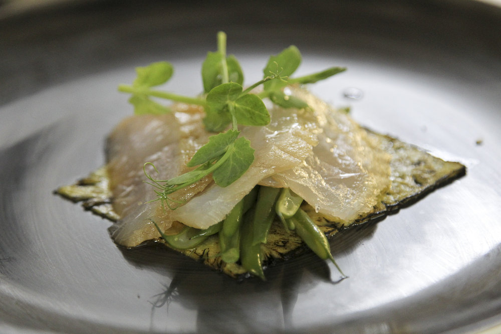 Cured kingklip with a caramelized pineapple carpaccio (photo Gavin Withers)