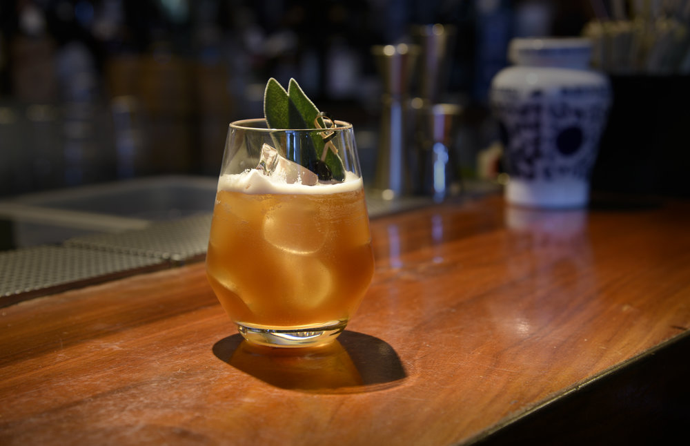 Rock of Sages: Cognac VS, Carpano Classico, pineapple, cherry syrup