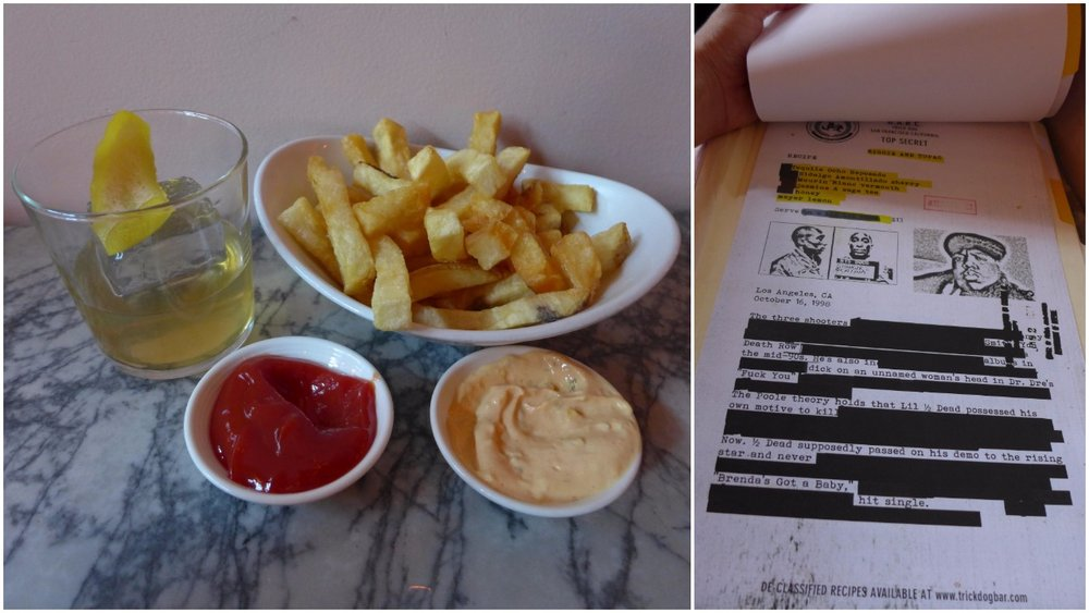Biggie and Tupac with french fries; the FBI style menu at Trick Dog