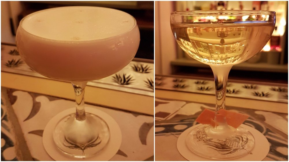 Left: Mala Education (mezcal, grapefruit, agave honey, rhubarb, habanero bitters, egg white); Right: Martini de Los Altos (tequila ocho, vermouth del professore, bergamotto Quaglia, habanero bitter, orange bitter)