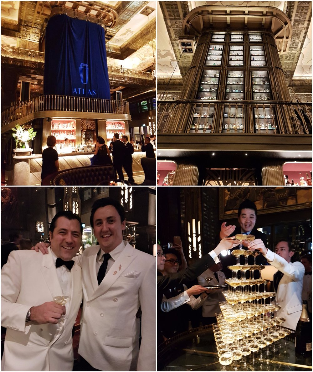 Clockwise from top left: Gin tower before and after, champagne tower, Giancarlo Mancino and Jason Williams