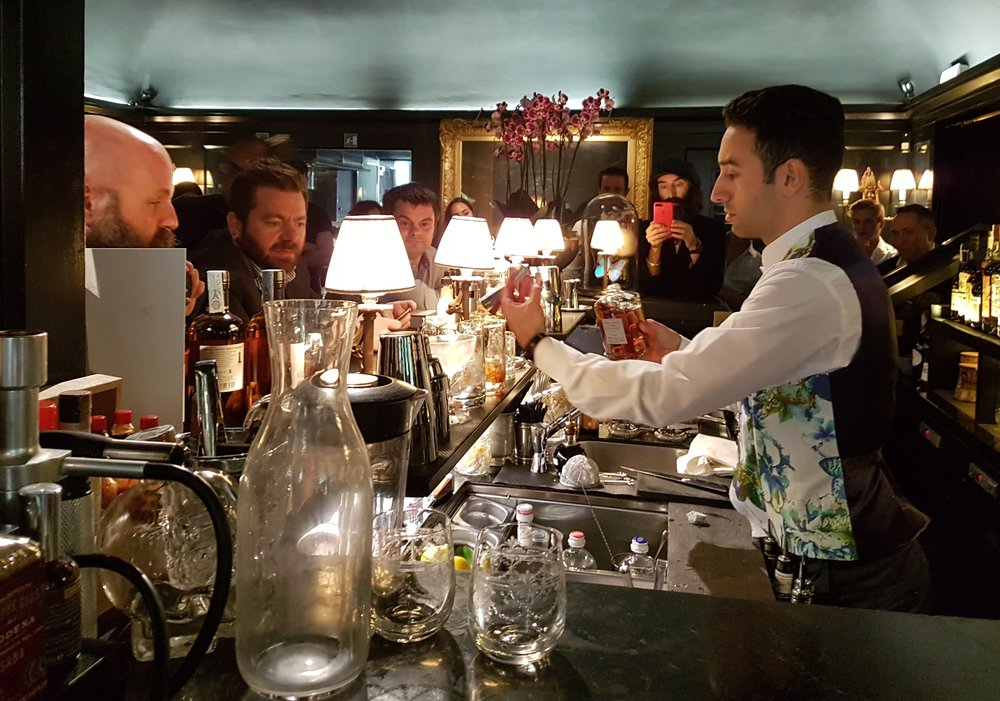 Nicola Mangiacapra prepares a Nikka cocktail for the judges
