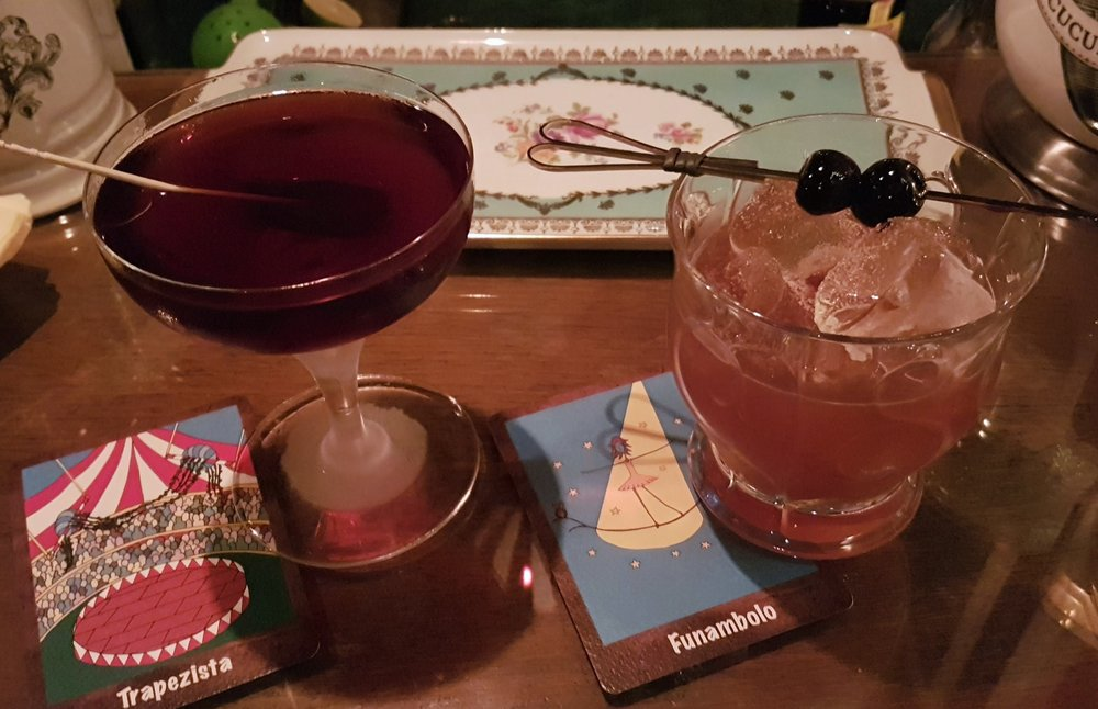 Il Trapezista and Il Funambolo (Tightrope Walker), two delicious whiskey-based drinks from the new menu