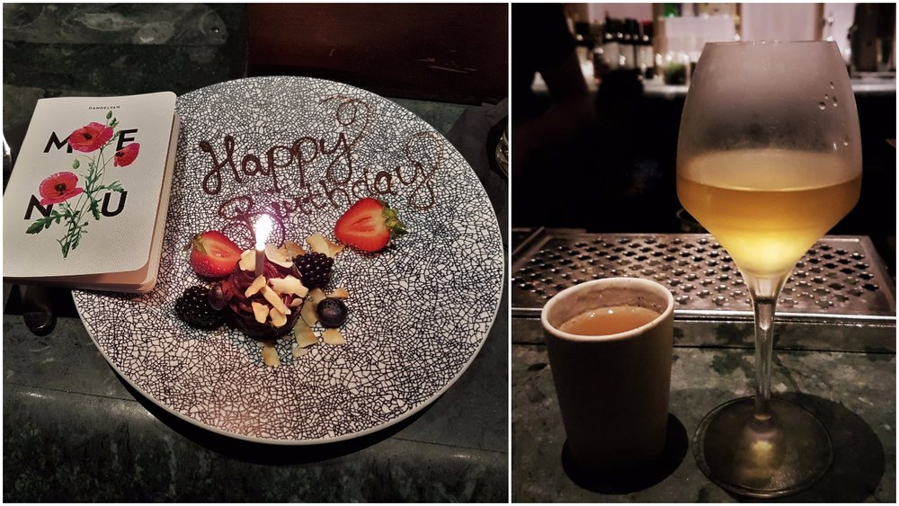 Left: At Dandelyan, the team will treat you like it's your birthday even if it's not; Right: Jack and Mickey Old Fashioned and Patron Agave sherry from the cellar menu