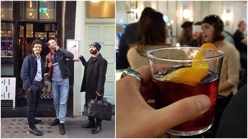 Left: The Italian crew; Right: A delicious aperitif at Swift