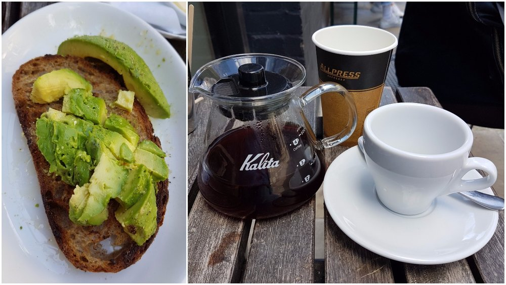 Left: Avocado toast, Right: V60 of Ethiopian single origin coffee