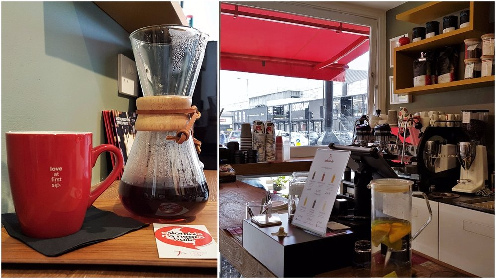 Left: Chemex of single origin Ethiopia; Right: Seven grams coffee shop