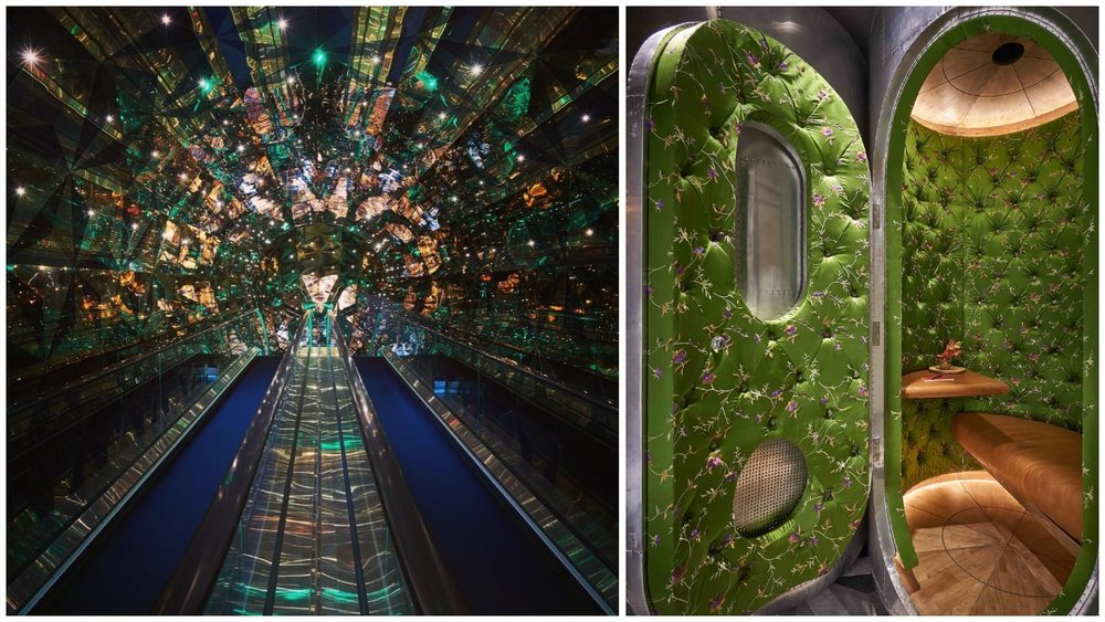 Left: The enchanting elevator ride; Right: The privacy booths (Photos by Alex Chomicz)