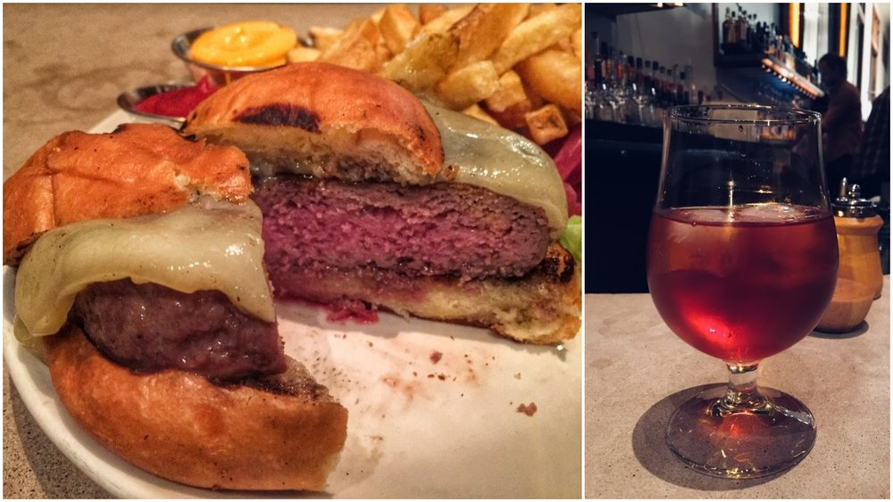 Burger and Flanders red cocktail