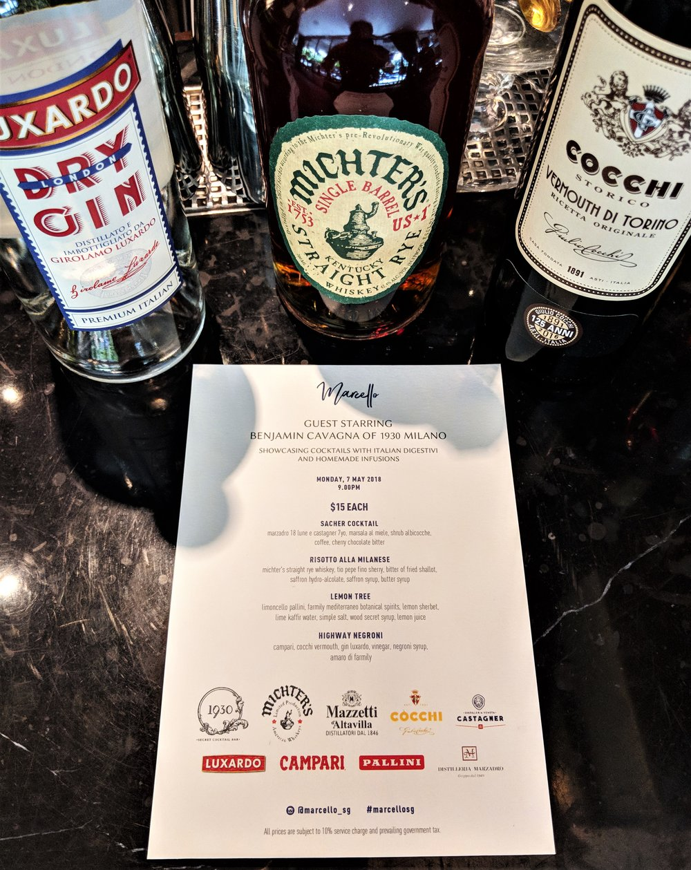 The menu at Marcello featuring Luxardo, Michter's, Cocchi and many more Italian brands