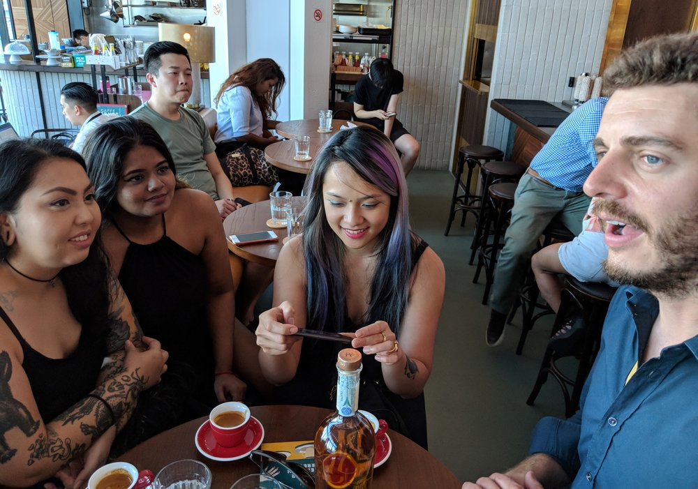 "The girls from 28 HongKong Street try a caffè ""corretto"" with Marzadro grappa"