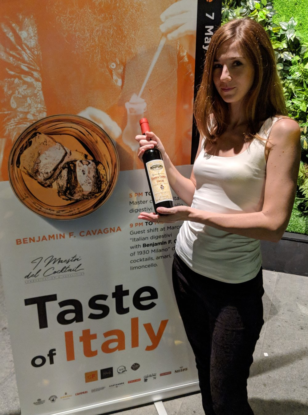 Erica with a bottle of Cocchi Barolo Chinato