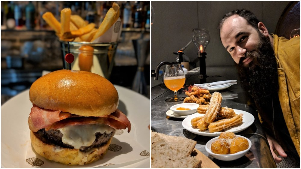 Left: the almost best burger in Singapore, Right: Benjamin with the awesome finger food at 1880.