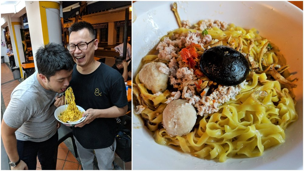 Left: David feeding Jericson, Right: gweilo variation of bak chor mee wtih broad noodle