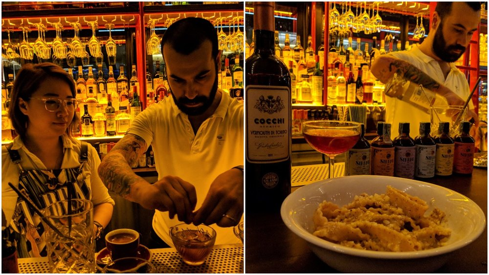 "Left: Cherrie and guest bartender Diego, Right: Diego prepares a drink for ""Negroni Affair"" during SGCF 2018"