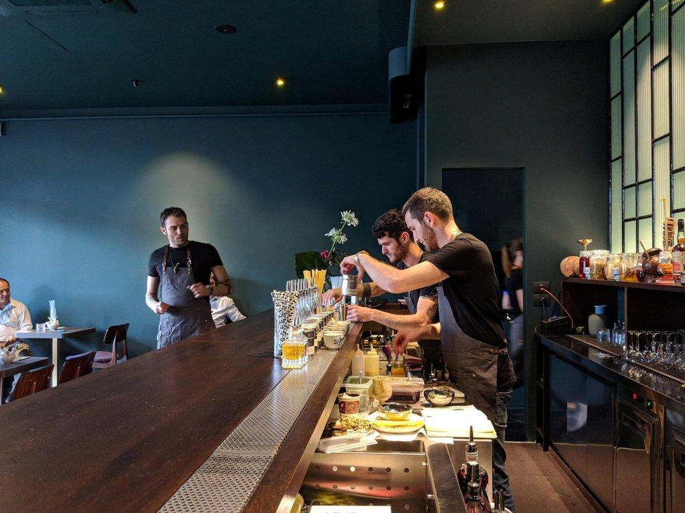 Filippo Sisti guiding bartenders Federico Lombardi and Simone De Angelis at  TALEA