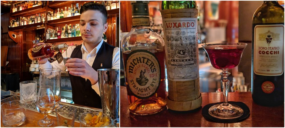 Sossio making a Michter's Old Fashioned; These are a few of my favorite things.