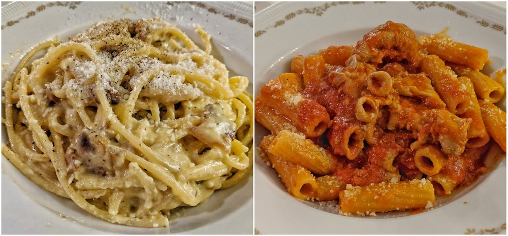 Left: Carbonara, Right: Rigatoni with Pajata
