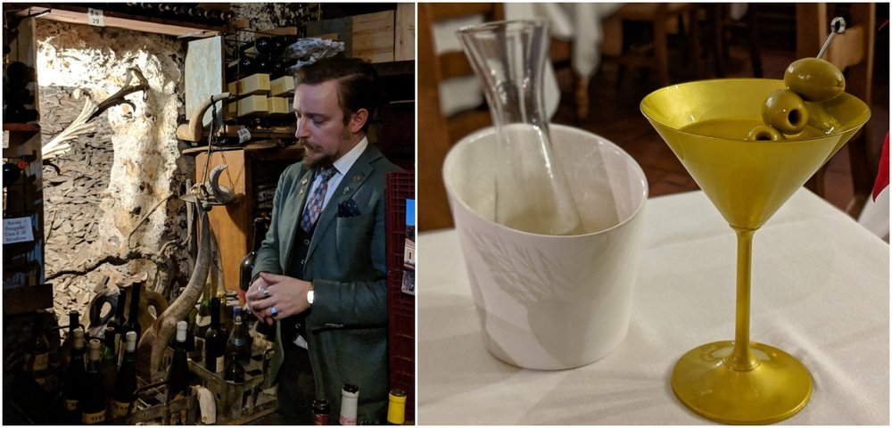 Left: Simone in his secret cave, Right: Simone's signature Martini