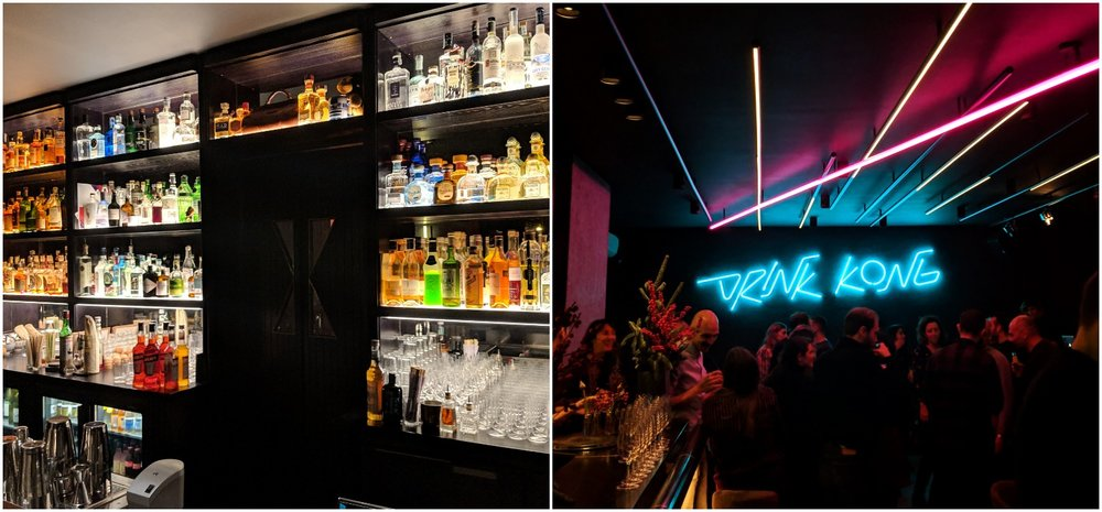 Left: Sitting at the main bar, Right: the Kong room featuring live music