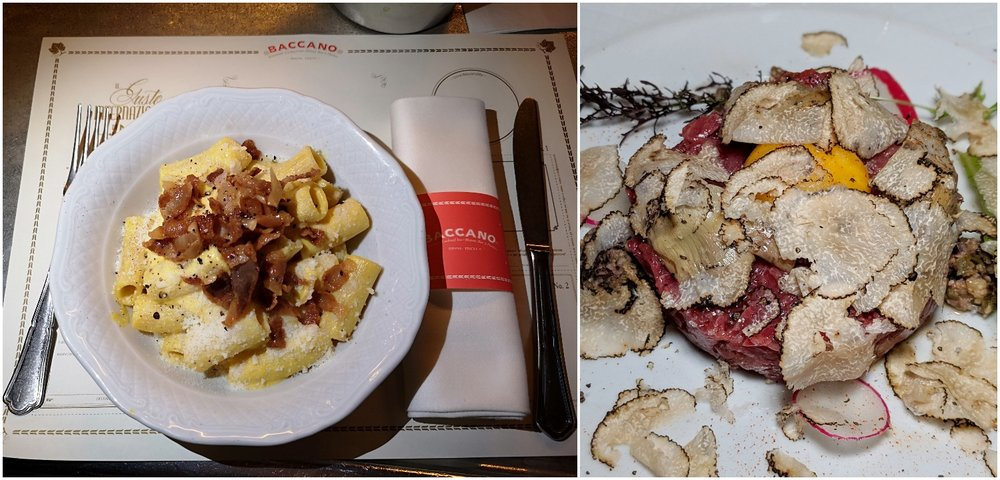 Left: Cabonara, Right: Tartare with white truffle